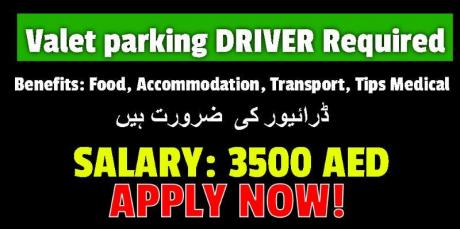 Valet parking driver with Valid UAE License