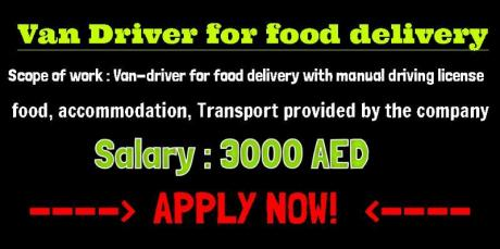 Van Driver for food delivery