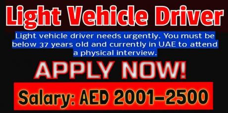 Light Vehicle Driver with Experience