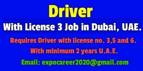 Driver With License 3, Job in Dubai