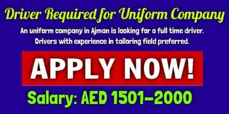 Driver Required for Uniform Company