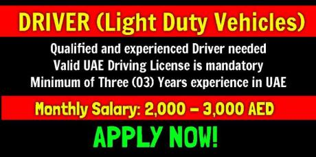 DRIVER (Light Duty Vehicles) Required