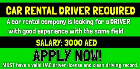 CAR RENTAL DRIVER REQUIRED