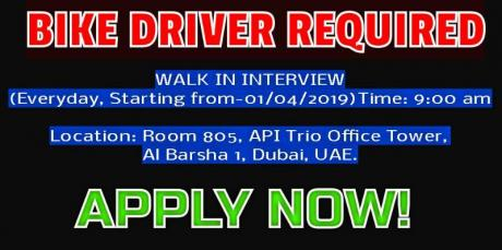 BIKE DRIVER REQUIRED  WITH BIKE DRIVER LICENSE
